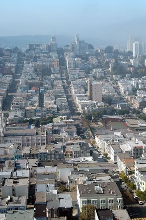 coit tower: San Francisco hills from Coit Tower