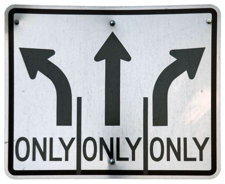 LeftStraightRight Turn Lanes sign Imagens