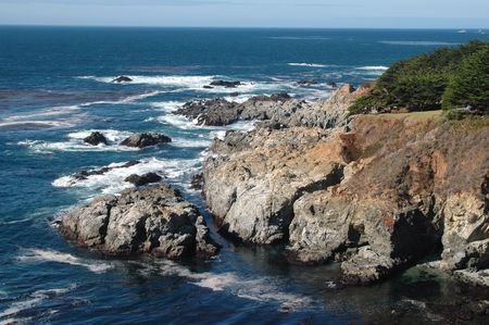 Coastal rocks, Highway 1 south of Carmel, California photo