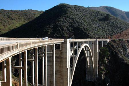 bixby: Bixby Bridge, circa 1932, over Rainbow Canyon near Big Sur, California