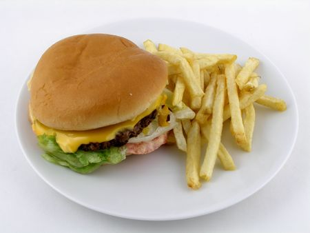 cheeseburger with fries: Cheeseburger and fries
