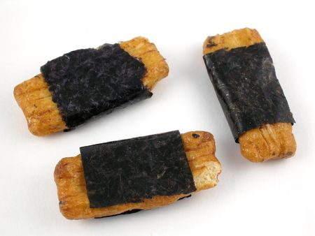 Japanese rice crackers with seaweed 스톡 콘텐츠