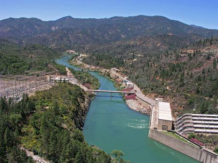 reclamation: Sacramento River below Shasta Dam, Shasta Lake, California Stock Photo