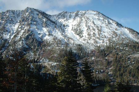 south lake tahoe: Snow-covered mountain near Emerald Bay, South Lake Tahoe, California