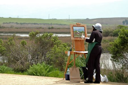 Painting the wetlands, Baylands Nature Preserve, Palo Alto, California