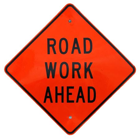 Road Work Ahead sign photo