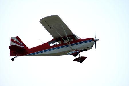 Light plane in flight, Palo Alto Airport, California Stock Photo