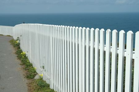 White picket fence at Point Reyes, California photo
