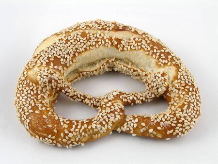 pretzel: Sesame seed coated twist pretzel Stock Photo