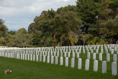 Rows of headstones in a military cemetery Stok Fotoğraf