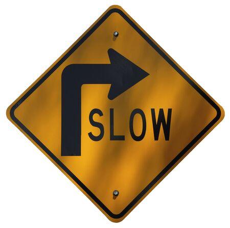 Slow - Road Curves Right sign Banco de Imagens
