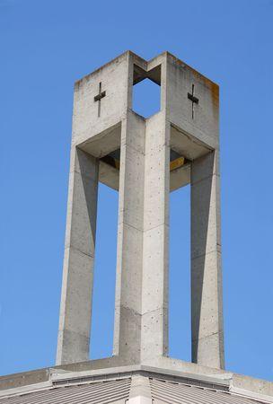 alto: Industrial-looking church steeple, Palo Alto, California