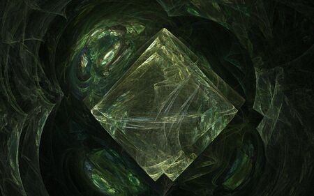 apophysis: Green tiles in a cavern - fractal rendered image Stock Photo
