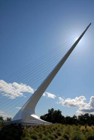 Sundial blocks the sun, Sundial Bridge, Turtle Bay, Redding, California