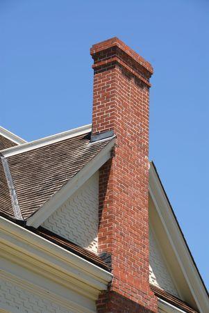 Brick chimney on 19th century farmhouse, Patterson Ranch, Ardenwood Historic Farm, Fremont, California