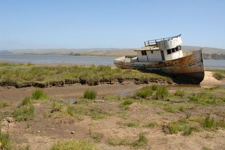 Beached fishing boat, Inverness, California
