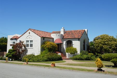 spanish tile: Spanish-style home, Burlingame, California