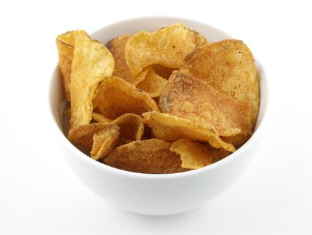 A small bowl of potato chips Stock Photo - 486688