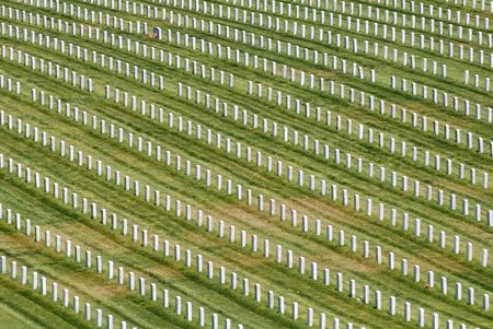 headstones: Rows of headstones, Golden Gate National Cemetery, San Bruno, California