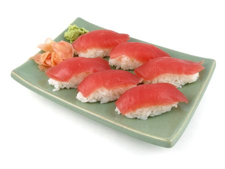 A plate of nigiri sushi Standard-Bild