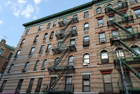 escapes: Old apartment building in New Yorks Soho neighborhood
