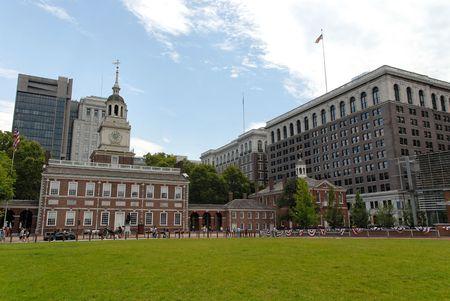 Independence Hall & moderne gebouwen, Philadelphia, Pennsylvania Stockfoto - 540544