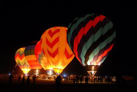 Balloons lighting up the darkness, Reno, Nevada