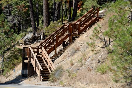 donner: Wooden stairway, Donner Lake, California