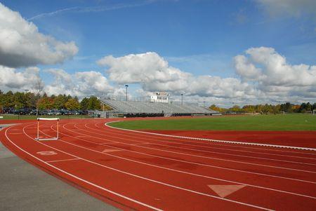 College running track with hurdle, Rochester, New York Standard-Bild