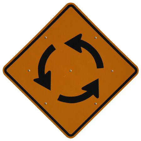 counterclockwise: Traffic Circle Ahead road sign