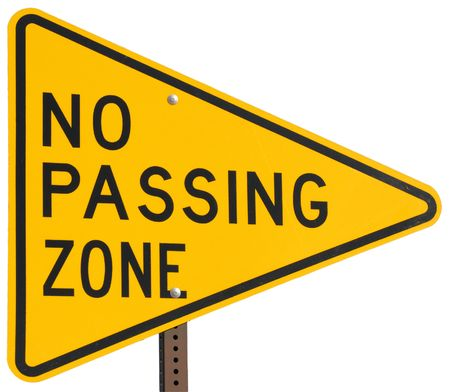 no pase: Zona de la carretera no pasa signo