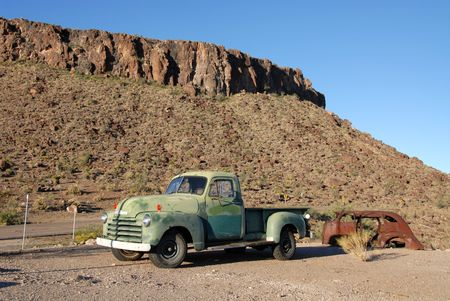 Old truck on Route 66 in the Arizona desert photo