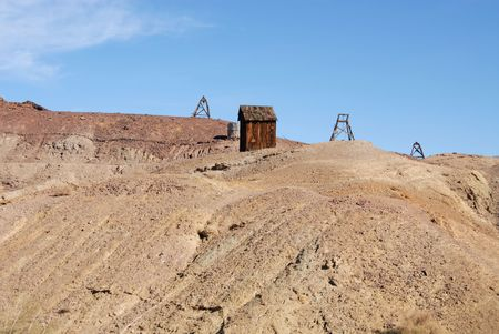 Mine shack and scaffolding, California ghost town