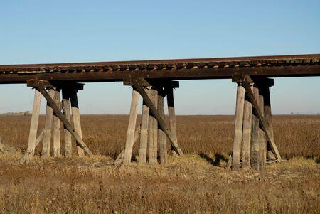 trestle: Railroad trestle support pylons near Woodland, California