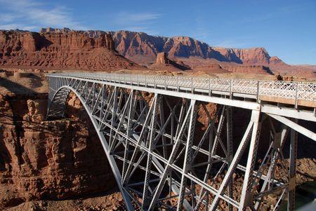 baratro: Ponte pedonale sul fiume Colorado, vicino a Lee's Ferry, Arizona Archivio Fotografico
