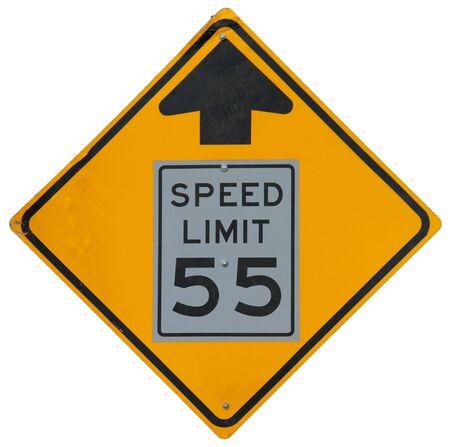 制限速度の低下を 55 に前方記号