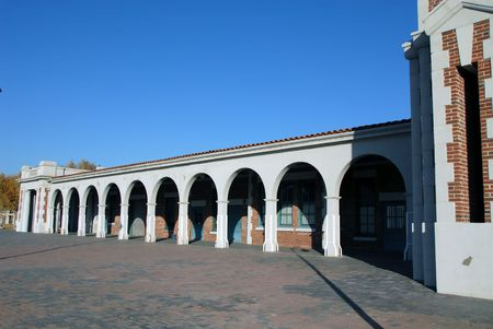barstow: Railroad station building, Barstow, California Stock Photo