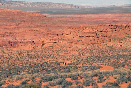 Walking in the desert near Horseshoe Bend on the Colorado River, Page, Arizona Stok Fotoğraf
