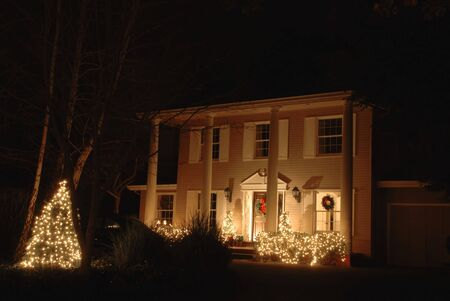 holiday lights display: Christmas lights on a stately home, Los Altos, California