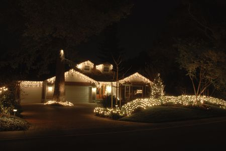 Christmas lights on a stately home, Los Altos, California