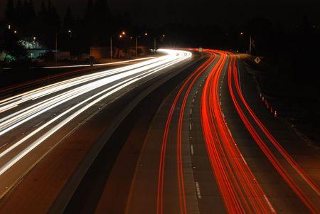Freeway at night, Mountain View, California
