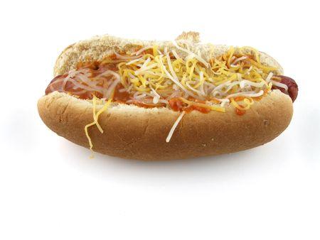 Chili dog with cheese photo
