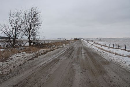 homestead: Rough road in winter, Homestead, Iowa