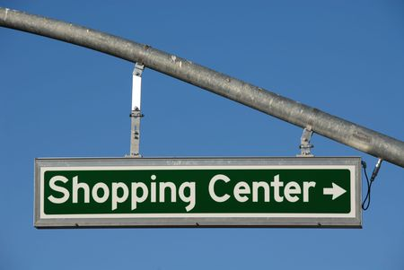 Shopping Center Right Turn lighted direction sign Archivio Fotografico