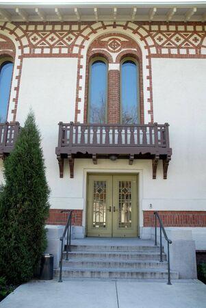 Auditorium entrance, state insane asylum, Santa Clara, California