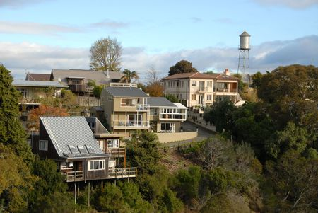 Houses & water tower along the ridge of Bluff Hill, Napier, New Zealand