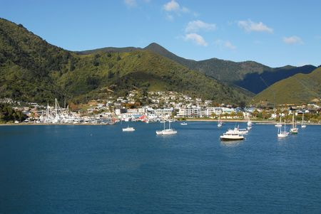 Picton, New Zealand from the deck of an approaching interisland ferry