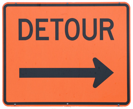Detour Right road sign