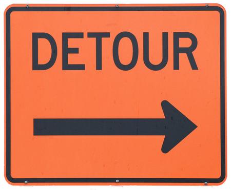 Detour Right road sign