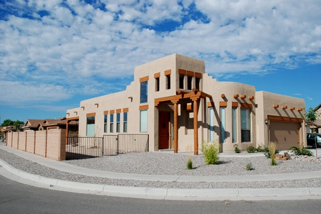 Mock adobe Southwestern home, Bernalillo, New Mexico Stock Photo